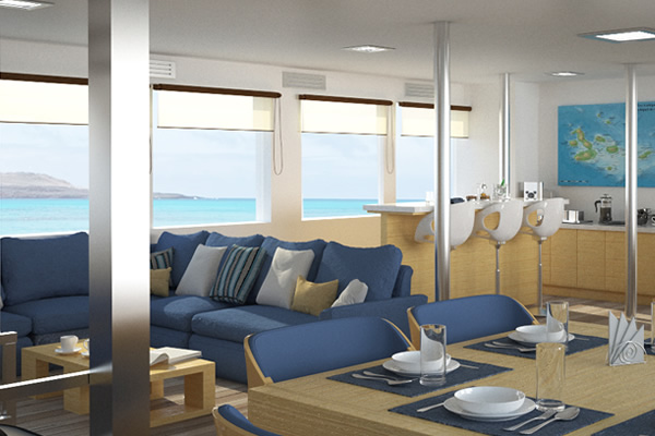 Dining Room at Calipso Galapagos Cruise
