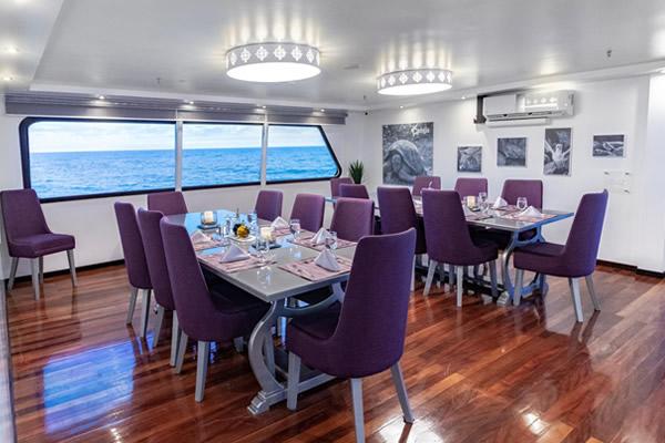 Dining Room at Calipso Galapagos Cruise Yacht