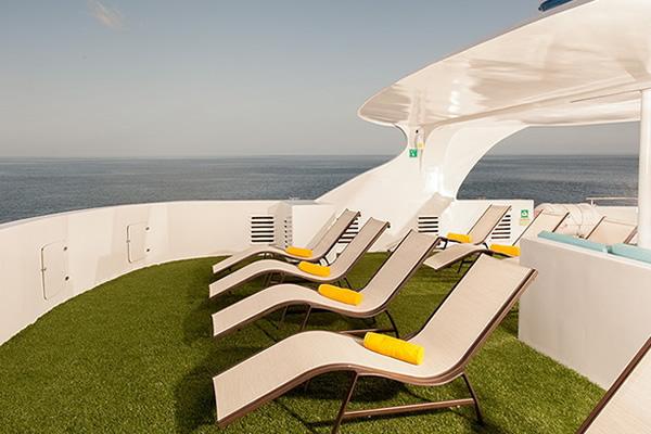Sun deck Eco Galaxy Galapagos Cruise