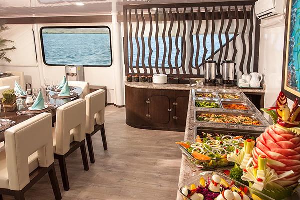 Dining Room at Eco Galaxy Galaxy Galapagos Yacht