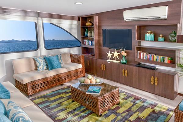 Lounge at Eco Galaxy Galapagos Cruise