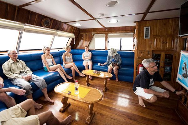 Lounge at Fragata Galapagos Yacht