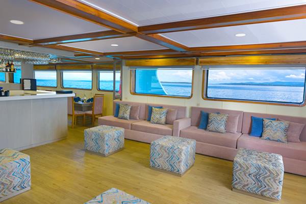 Lounge at Galaxy Galapagos Cruise