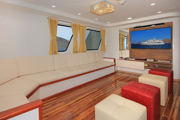 Lounge at Queen Elizabeth Galapagos Cruise Yacht