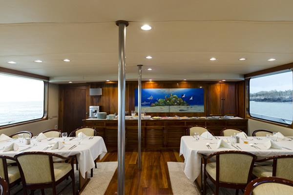 Dining Room at Integrity Yacht Galapagos