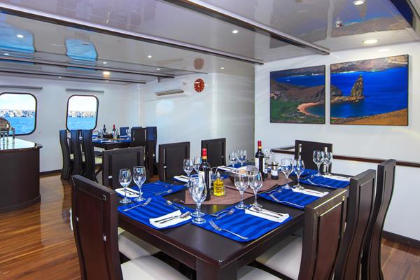 Dining Room at Natural Paradise Galapagos Cruise Boat
