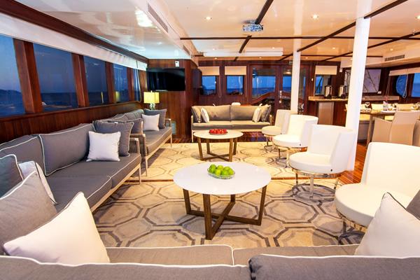Lounge at Oddysey Galapagos Cruise