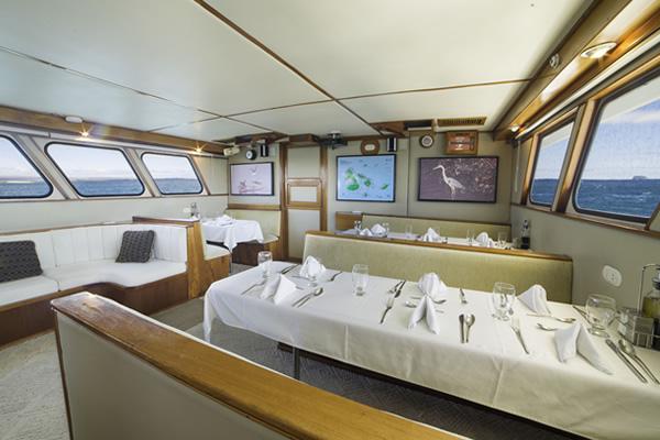 Dining Room at Reina Silvia Galapagos Cruise