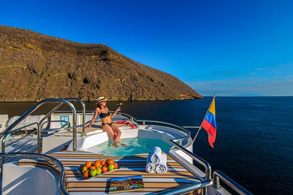 Sundeck with jacuzzi at Treasure of Galapagos Catamaran