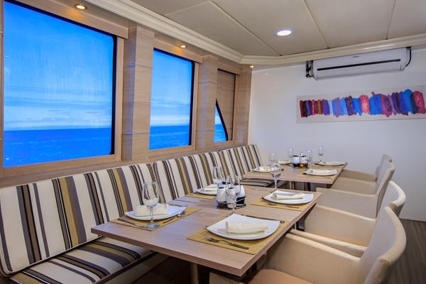 Dining Room at Treasure of Galapagos Catamaran