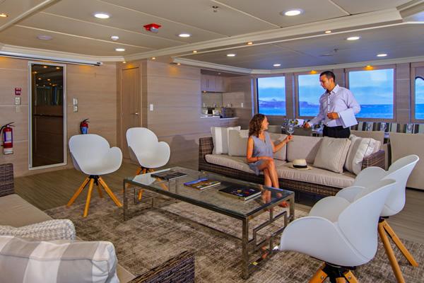 Comfortable Lounge at Treasure of Galapagos Catamaran